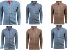 Mens Ex - store Full Zip Cardigan Chunky Cable Knit Thick Weave Fisher