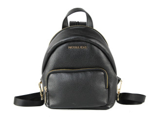 Michael Kors Erin Small Leather Convertible Backpack Bag (Black Solid w/ Gold)